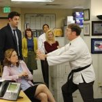 "THE OFFICE -- ""Livin' The Dream"" Episode 921 -- Pictured: (l-r) Jenna Fischer as Pam Beesly Halpert, John Krasinski as Jim Halpert, Kate Flannery Meredith Palmer, Oscar Nunez as Oscar Martinez, Angela Kinsey as Angela Martin, Rainn Wilson as Dwight Schrute -- (Photo by: Vivian Zink/NBC/NBCU Photo Bank)"